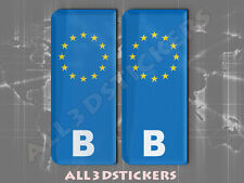2x3D Sticker Resin Domed Euro BELGIUM Number Plate Car Badge Adhesive Decal