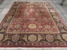 Old Traditional Hand Made Indian Agra Oriental Wool Red Brown Carpet 308x247cm