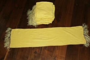 "Vintage Deadstock 1950's Yellow Plush Scarves Hand Tied Silk Fringe 40"" Length"