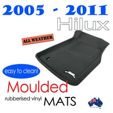 To suit Toyota Hilux Dual Cab SR5 2005 - 2011 - Black Rubber 3D Floor Car Mats