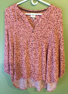 amazing KNOX ROSE 1X XL pink maroon white FLORAL BOHO TOP shirt PEASANT BLOUSE