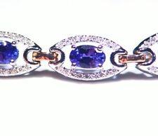 7.33CT 14K Gold Natural Tanzanite Diamond Vintage AAA Halo Tennis Bracelet Deco