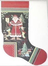 Needlepoint Handpainted KELLY CLARK Christmas STOCKING Norwegian Santa 22""
