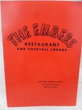 The Embers Restaurant Cocktail Lounge Las Vegas Nevada Dinner Drink Menu 1960s