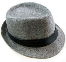 Cotton Fedora Hat Cap trilby Mens GRAY w/ Strap Womens Unisex fashion style NEW