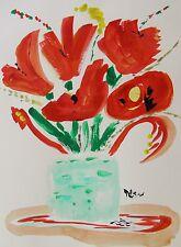ORIGINAL Flower Naive Outsider Mary Carol Art Self Taught Folk artist MCW art