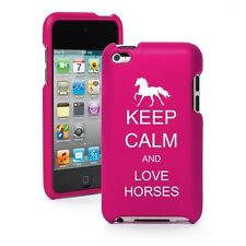 For iPod Touch 4th Gen Hot Pink Rubber Hard Case Cover Keep Calm and Love Horses
