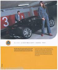 Lotus Elise prospectus Lightweight rigide Air Conditioning 2002 Go Brochure voiture