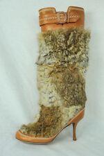 DIOR Womens Fur Tan Embroidered Round-Toe High Heel Pump Mid-Calf Boot Shoe 7-37