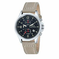 AV-8 Men's Hawker Harrier II AV-4001-03 Black Dial Chronograph Leather Watch