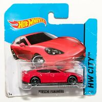 Porsche Panamera Red, 2014 Hot Wheels scale 1:64, model car toy gift
