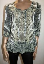 suzannegrae Brand Sage Paisley Chiffon 3/4 Sleeve Blouse Top Size 8 BNWT #RB73
