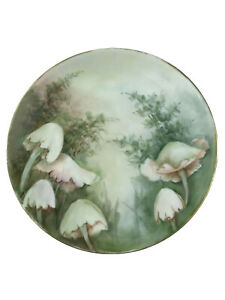 """HUTSCHENREUTHER SELB BAVARIA Plate Hand Painted Pink Mushrooms Floral 8 1/2"""""""
