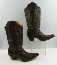 Ladies Corral Brown Distressed Leather Lizard Inlay Western Boots Size : 10 M