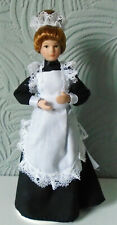 dolls house MAID in black & white uniform porcelain doll NEW 12th scale