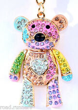 TEDDY BEAR MULTI Keyring Diamante Rhinestone Crystal Ladies Bling Handbag New