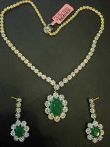 Classy 28.50 Cts Natural Pave Diamonds Emerald Necklace Earrings Set In 14K Gold