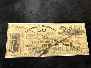 TEXAS WARRANT $50 DOLLARS 1862 -
