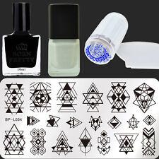 5Pcs Born Pretty Geometry Nail Art Stamping Plate Polish Stamper Scraper Kit