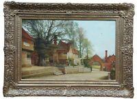 """Alfred J Robertson Antique Oil Landscape Painting Village Scene Cityscape 35"""""""