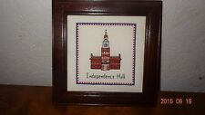 Independence Hall Building Finished Cross Stitch Framed 4th July Freedom New
