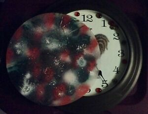 Rooster Clock, my own glass art project; rural farm chic, also signed if u want