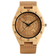 Simple Genuine Leather Band Bamboo Fire Fighter Quartz Wrist Watch for Fireman