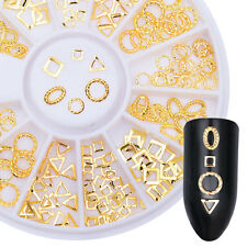 Gold Rivet Studs 3D Nail Art Decoration Oval Square Triangle Hollow Frame Decor