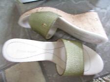 NEW ETIENNE AIGNER DEPLUME GREEN SLIDE SANDALS WOMENS 8 CORK WEDGE
