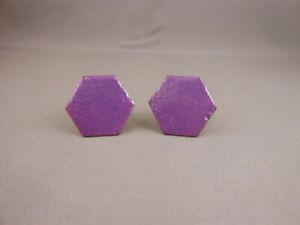 Vtg Purple Enamel Hexagon Shape & Copper Metal Cufflink Set Mens Womens Custom