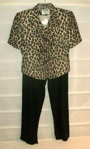 Kasper Women's Fully Lined Leopard Print SS Jacket & Dress Pants 8 Petite EC!