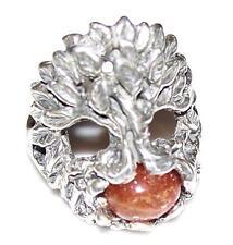 Celtic TREE of LIFE Ring .925 Sterling Silver - Sz 11 w/ genuine Sunstone gem