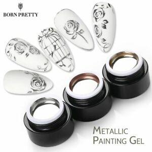 Metallic Painting Nail Polish Gel Silver Mirror Glitter Effect Soak Off Flower