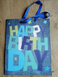 Happy Birthday Gift Paper Bag Party Denim Print Boy Present Man Carry celebrate