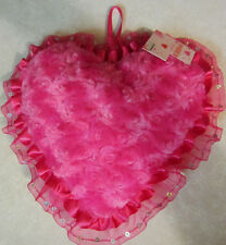 FAUX FUR HEART SHAPED PILLOW ROSE PRINT PINK VALENTINES DAY WITH A BOW TO HANG