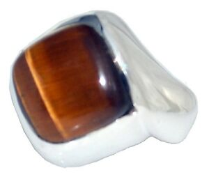 Mens Tigers Eye Ring,Natural Gem, Gents 925 Sterling SILVER Sizes M,6 to Z+5,15