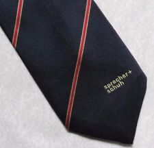 SPRECHER + SCHUH COMPANY LOGO TIE VINTAGE RETRO NAVY RED STRIPED 1980s 1990s