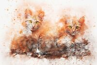 Water Colour Cute Cats - Animal Painting Wall Art Large Poster / Canvas Picture