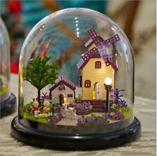 Romantic LED Glass Wood Model Kits Dollhouse DIY Garden House Toy Gift Handcraft