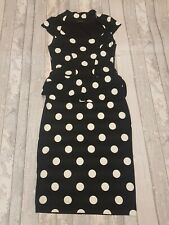 River Island retro Polkadot Peplum Wiggle Dress Rockabilly Pinup Size 12 (C32)