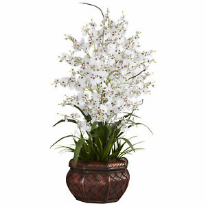 Nearly Natural Dancing Lady Silk Flower Arrangement Home Decoration White 30in