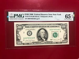 $100 1990 FEDERAL RESERVE NOTE NEW YORK FR#2173B VILLALPANDO BRADY PMG 65 EPQ