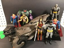 "2016 BATMAN v SUPERMAN FIGURE LOT OF 7 6"" FIGURES & EPIC STRIKE BATMOBILE!!!"