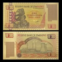 Zimbabwe 1 Centillion Dollars 24K Gold Foil Banknote 100 Trillion Series