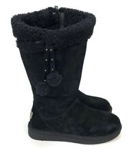 UGG Women's Plumdale Cuff Black Silkee Suede With Pom Pom Winter Boots