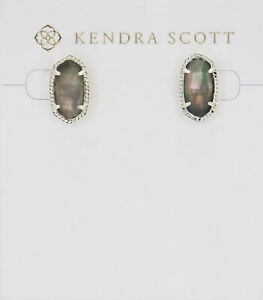 Kendra Scott Ellie Oval Stud Earrings in Black Pearl and Bright Silver