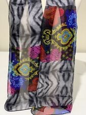 100% Mulberry Silk Scarf ~ Paisley Floral Black Grey Pink Blue Red ~ 65x160cm