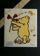 WINNIE THE POOH PICKED JUST FOR YOU ROSES FLOWERS VTG 2.5X3 STICKER