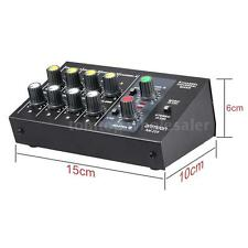 8 Channel Metal Mono Stereo Audio Sound Mixer Black Low Noise US Plug 110-240V