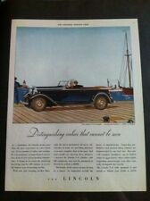 "1932 Lincoln V8 Four Passenger Phaeton ORIGINAL 10x13"" AD - Great Garage Decor"